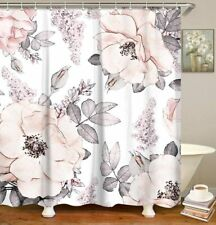 Neutral Light Pink Gray French Country Floral Shabby Chic Fabric Shower Curtain