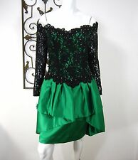 AFTER FIVE VINTAGE 80's LONG SLEEVE DRESS SIZE S/M, GREEN