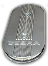 Mustang Finned Alloy Air Cleaner Dual Carby Oval Filter 1969 1970 69 Mach 1 Boss