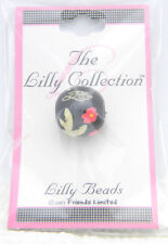 New Old Stock Lilly Collection Lilly Beads Black Pink Flower Beads (3 Pack)