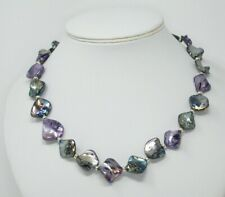"""PURPLE / GREY MOTHER OF PEARL NECKLACE ~ 925 STERLING SILVER 19.5"""""""