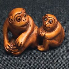 Japanese Signed Carved Wood Netsuke Monkeys Sitting Miniature
