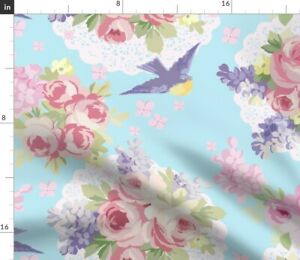 Blue Flowers Lace Floral Aqua Spring Summer Spoonflower Fabric by the Yard