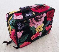 Vera Bradley Large Blush & Brush Makeup Case Havana Rose Black Travel MSRP $52