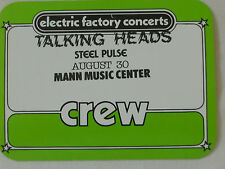 Talking Heads 1983 - Mann Music Center - satin crew pass