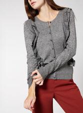 Sainsburys TU Womens Frill Front Grey Cardigan UK Size 8