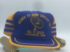 Vtg 3 Stripe Mesh Trucker Hat Kleins Tv Home Satellite Rca Dealer Livermore Iowa