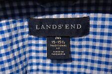 Lands' End M 15-15.5 Blue Gingham Check Seersucker All Cotton Short Sleeve Shirt