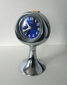 Vintage 1960s LUMEN Mid Century Modern Space Age Chrome Mechanical Alarm Clock