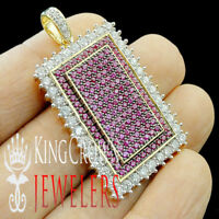 10K Yellow Gold On Real Silver Rose Pink Sapphire Square Diamond Pendant Charm