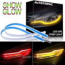 "2x 24"" Super Slim DRL Flowing Switchback LED Knight Rider Strip Light Red Amber"