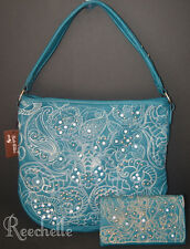 Rustic Couture's Floral Turquoise Rhinestone Handbag & Wallet Large NWT