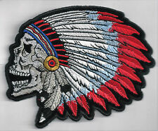 SCREAMING INDIAN CHIEF SKULL - IRON or SEW-ON PATCH