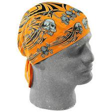 Orange Tribal Skull Flydanna Doo Rag Headwrap ATV Cap Biker Helmet Liner Durag