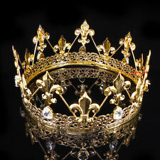 Men's Imperial Medieval Fleur De Lis Gold King Crown 8cm High 18cm Diameter