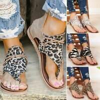 Gladiator Women Sandals Summer Shoes Leopard Print Flat Sandals Casual Flip Flop