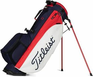 Titleist Golf 2021 Players 4 Plus Stand Bag COLOR: Navy w/ White/Red Top: 4-Way