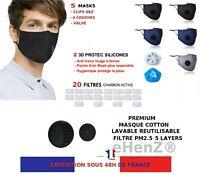 5 Masques tissu cotton lavable et 20 filtres PM2.5 carbon active Stock France