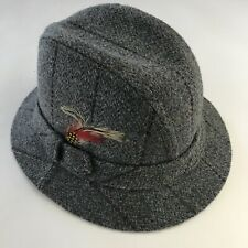 Dorfman Pacific Mens Hat Fedora Style Gray Tweed Plaid w/ Feather USA Size L