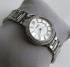 Genuine ladies Fossil Virginia Crystals Designer Watch Silver Dial Roman ES3282