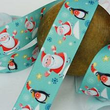 Buddly Crafts 22mm Christmas Printed Grosgrain Ribbon - 2m Santa & Penguins