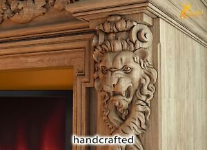 PAIR of Victorian Design Wood Corbels Lions - Unfinished, Fireplace Surround