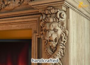Pair of carved corbels Lion from oak, Wood carving decor for fireplace surround