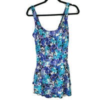 Maxine of Hollywood Womens Blue Floral Print One Piece Skirt Swimsuit 18