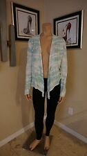 Cute open cardigan in mint and white tie dye Zenergy by Chico's sz 2 100% cotton
