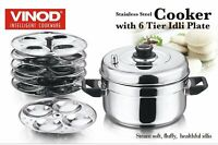 Vinod Stainless Steel Cooker With 6 Tiers Idli Maker Plates