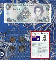 Cayman 2001 1 Dollar UNC P 26b Prefix C/3 & 25, 10 ,5, 1 Cents 1999 GEM UNC