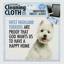 West Highland Terrier Microfibre Cleaning Cloth Tablet Phone Glasses Dog Lovers
