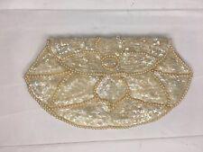 Vintage La Regale Beaded Purse Ivory White Shoulder Bag Clutch Wallet Coin Purse