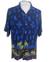 Hibiscus Men Hawaiian camp shirt p2p 23 M aloha tiki tropical hula girl vintage