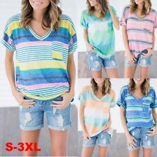 New Women Short Sleeve Tops Casual V-neck Shirt  Stripes Loose Blouse Plus Size