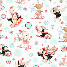 Peppermint penguin christmas fabric studio E