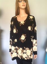 Fitting Image Knit Tunic 3X Roses Floral Designer Chic Fashion Black Beig Brown