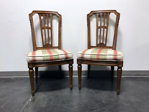 HENREDON Mid Century Italian Provincial Neoclassical Dining Side Chairs - Pair