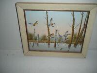 """Original Art Oil On Canvas Wildlife Birds In Flight Signed Artist Morris 12""""X10"""""""