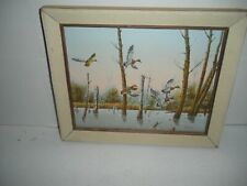 "Original Art Oil On Canvas Wildlife Birds In Flight Signed Artist Morris 12""X10"""