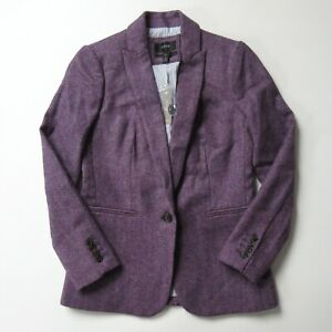 NWT J.Crew Parke Blazer in Purple Herringbone English Moon Wool Jacket 0