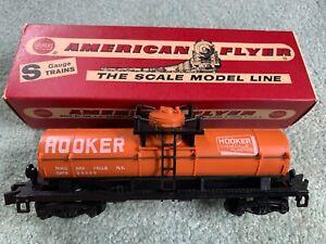 American Flyer #24329 Hooker Tank Car w/RARE original box dull orange pike 60s