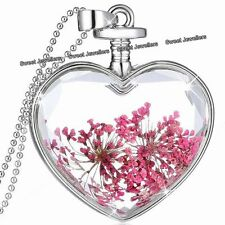 Pink Flowers & Silver Heart Pendant Necklace - Xmas Jewellery Gift For Her Women