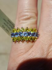 Blue Zircon and Peridot Round Cut Ring 14kt Solid Yellow Gold