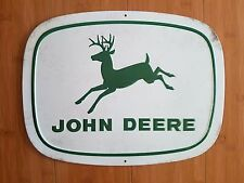 NEW METAL JOHN DEERE DECOR plaque display deer tractor equipment green white