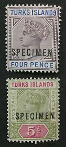 MOMEN: TURKS ISLANDS SG #71s-72s SPECIMEN MINT OG H LOT #191727-680