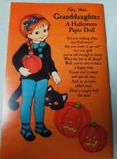 Vintage Paper Doll Halloween Greeting Card  w/envelope new Vintage Granddaughter