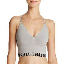 Calvin Klein QF1567 Seamless Logo Longline Multiway Sports Bra Bralette Grey XS