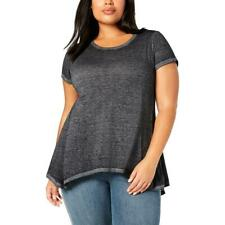 Style & Co. Womens Burnout Sharkbite Tee T-Shirt Top Plus BHFO 7902