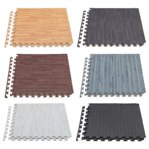 4/8/12/16/24x EVA Foam Floor Wood Effect Interlocking Gym Play Soft Tiles Mats